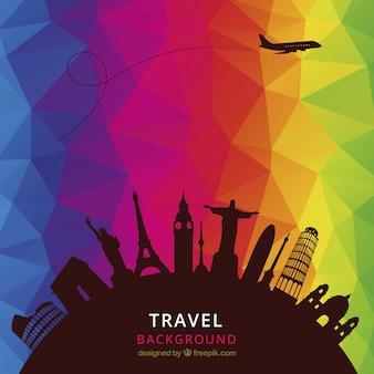 Viajes de fondo con los polígonos de colores