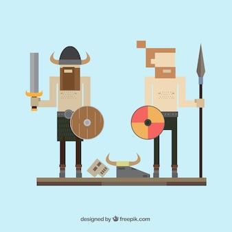 Vikingos en el estilo de píxeles