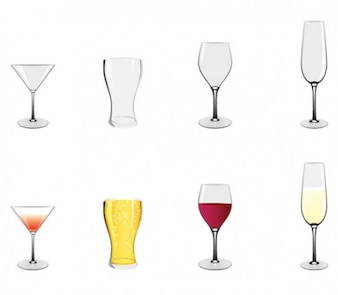 Vino cerveza vasos iconos vectoriales cóctel
