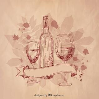 Vino y copas de vino esbozado