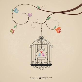 Jaula del vintage con los pájaros