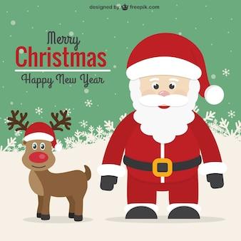 Tarjeta de navidad retro con santa y reno