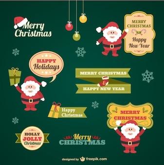Colección de pegatinas de Navidad vintage