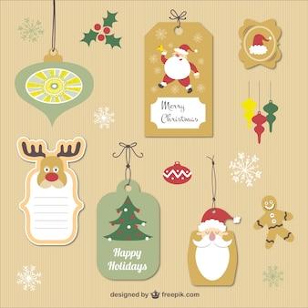 Etiquetas de la Navidad de la vendimia
