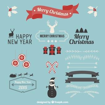 Conjunto de adornos de Navidad vintage