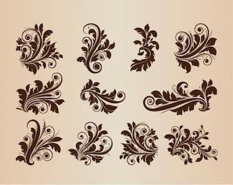 Adornos florales conjunto de vectores de la vendimia