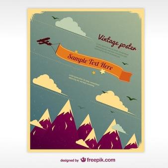 Cartel de la vendimia con las montañas