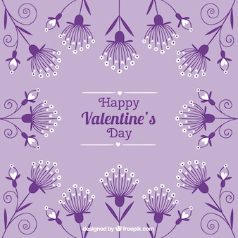 Tarjeta púrpura vintage de San Valentín