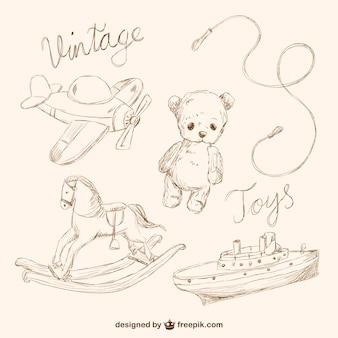 Colección de dibujos de juguetes estilo vintage
