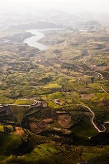 Vista aérea de los campos agrícolas