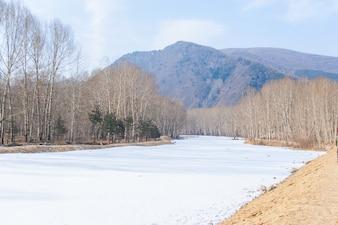 Vista de un paisaje con el río congelado