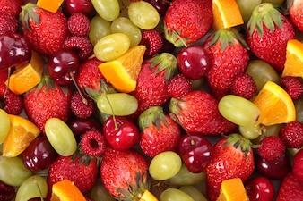 Vista superior de fruta variada