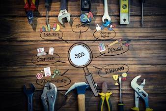 Vista superior de herramientas para marketing