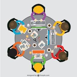 Vista superior de reunión de negocios