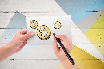 Vista superior de tres monedas  de dollar dibujadas