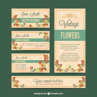 Conjunto de identidad visual con diseño de flores