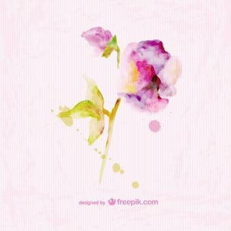Ilustración de flor estilo acuarela sobre textura de papel