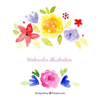 Flores de acuarela ilustración