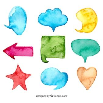 Burbujas de dialogo y formas de acuarela