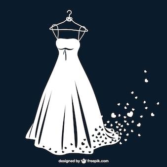 Vestido de novia en blanco y negro con corazones