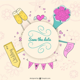 Invitación de boda con garabatos