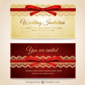 Invitaciones de boda con lazo rojo