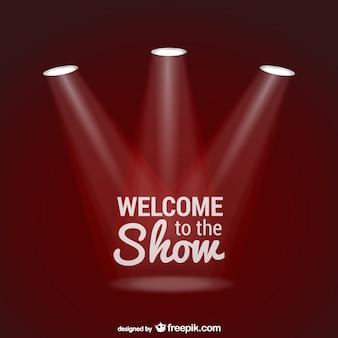 Vector de bienvenido al show con focos