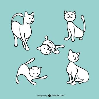 Vector gato blanco jugando