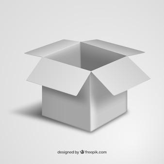 Caja de cartón blanco abierta