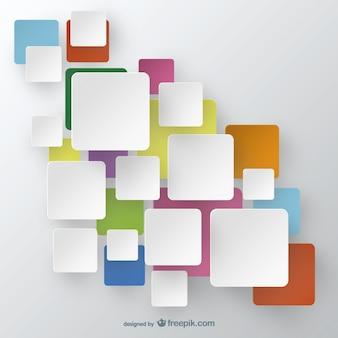 Cuadrados blancos en los cuadrados de colores de fondo