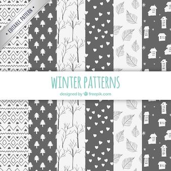 Colección patrones de invierno estilo dibujado a mano