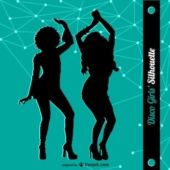 Siluetas de mujeres bailando en discoteca