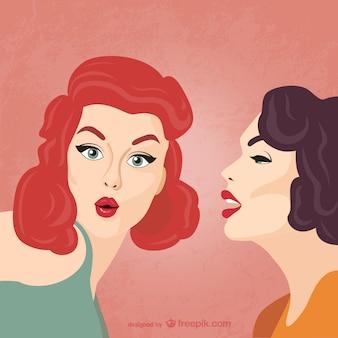 Ilustración de mujeres chismosas