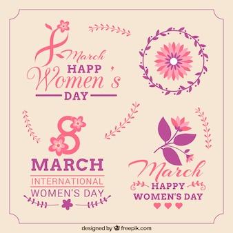Insignias y etiquetas del Día de la Mujer