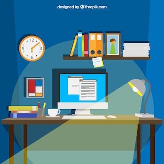Espacio de trabajo en estilo de dibujos animados