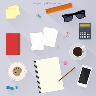 Espacio de trabajo en diseño plano