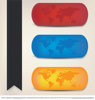 Mapas del mundo colección en tres colores