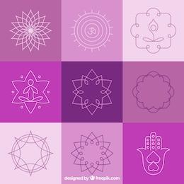 Yoga insignias y símbolos abstractos