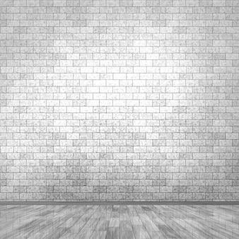 3D grunge camera interna con muro di mattoni e pavimento in legno