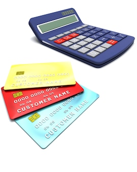 3D rendering di carte di credito generiche con una calcolatrice