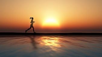 3D rendering di un fare jogging femminile contro un tramonto su un oceano