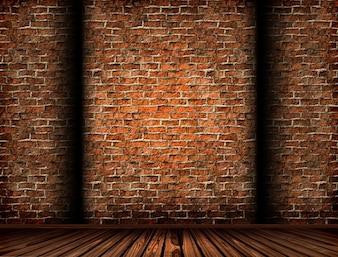 3D rendering di un interno con un muro di mattoni grunge