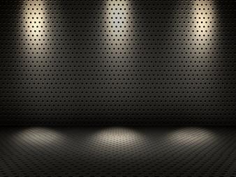 3D rendering di un interno metallico con faretti