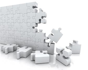 3D rendering di un puzzle non finito