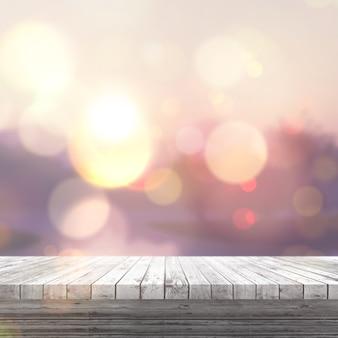 3D rendering di un tavolo di legno bianco, che si affaccia su un paesaggio soleggiato defocussed