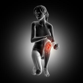 3D rendering di una figura femminile in ginocchio giù con ginocchio evidenziato