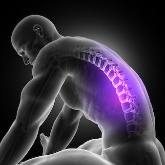 3D rendering di una figura maschile appoggiato con la spina luminosa evidenziata