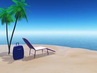 3D rendering di una scena della spiaggia con la valigia e sdraio