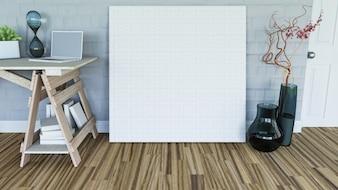 3D rendering di una tela bianca appoggiata a un muro in un interno della stanza