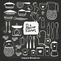 A mano da cucina disegnato in stile lavagna